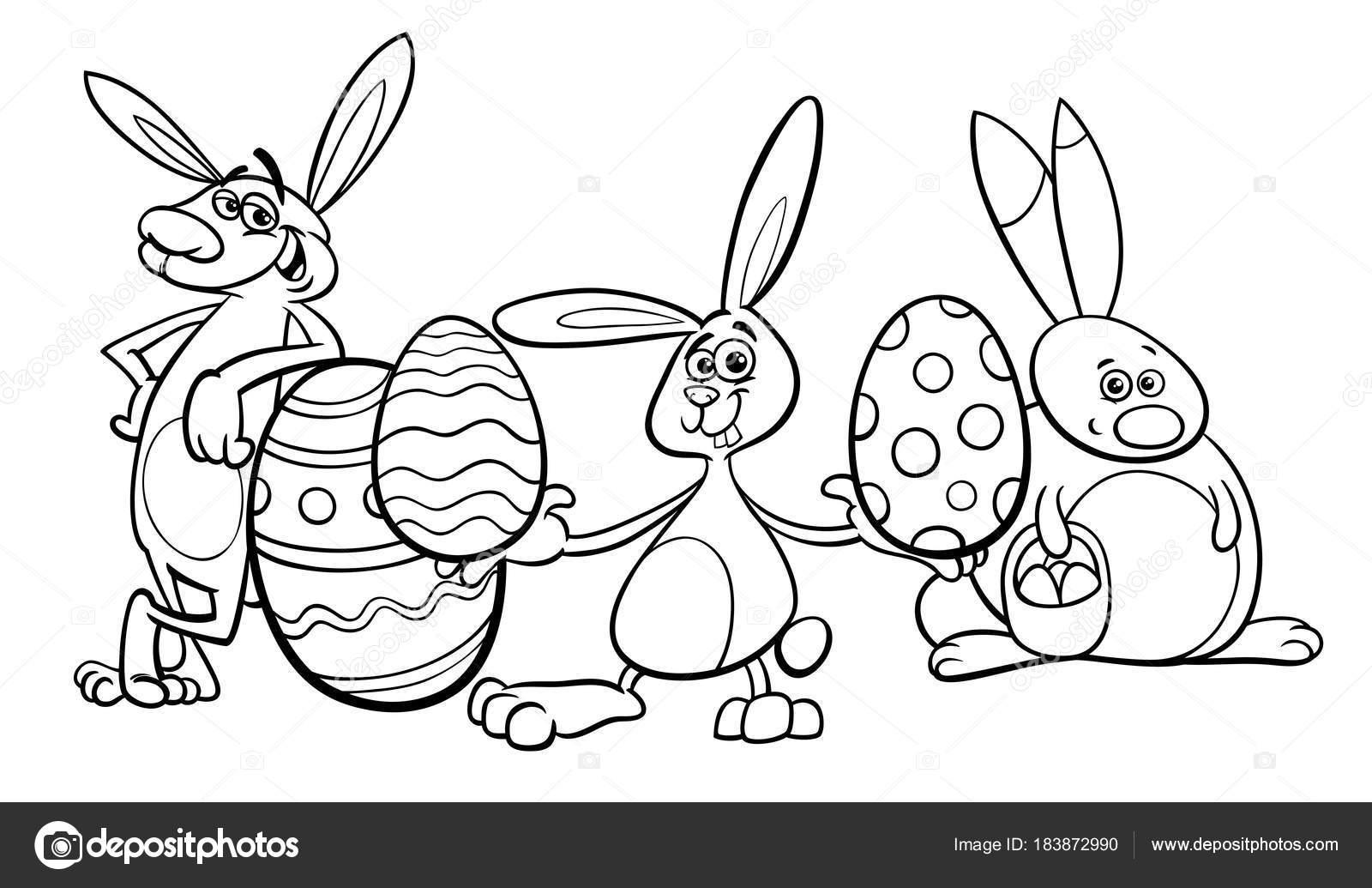 conejitos y huevos de Pascua para colorear libro — Vector de stock ...