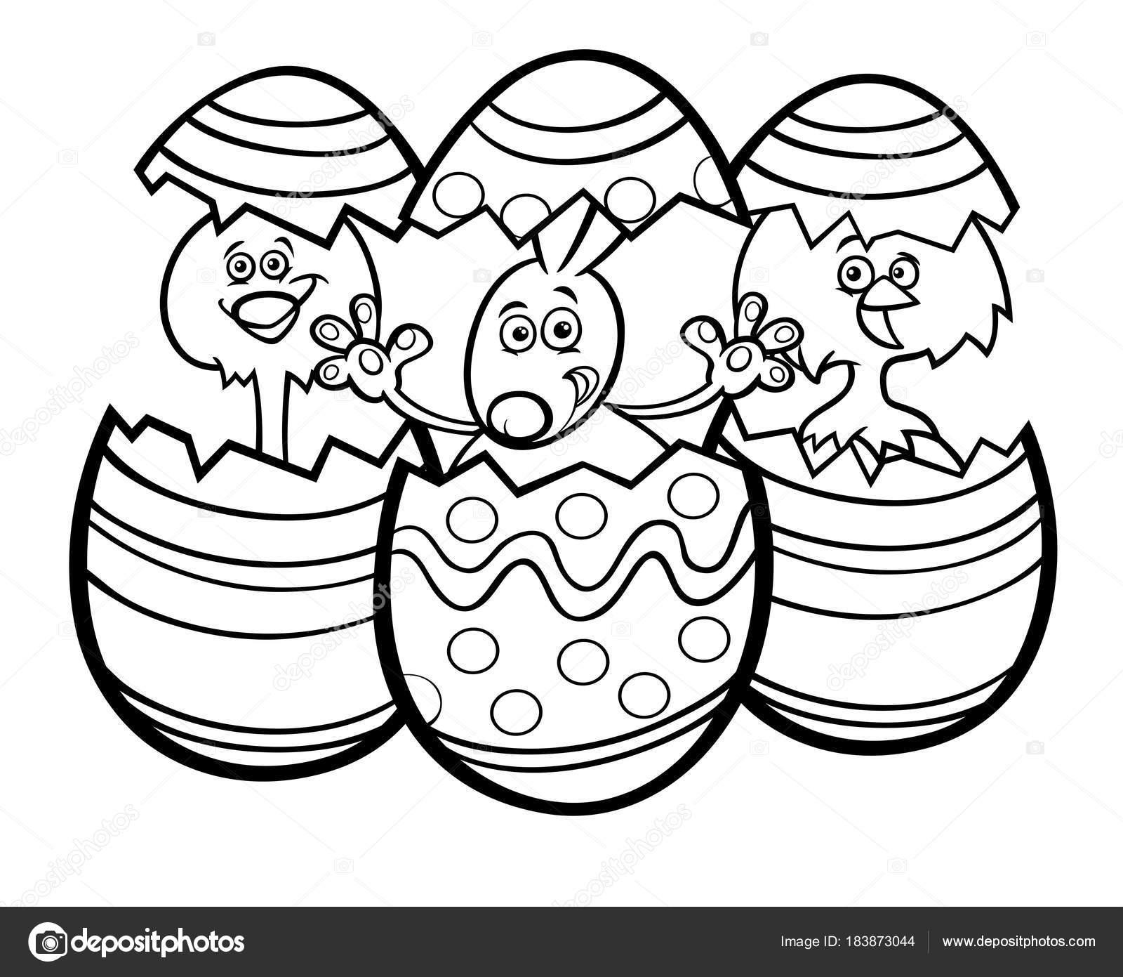 dibujos animados conejo de Pascua y gallinas colorean libro — Vector ...