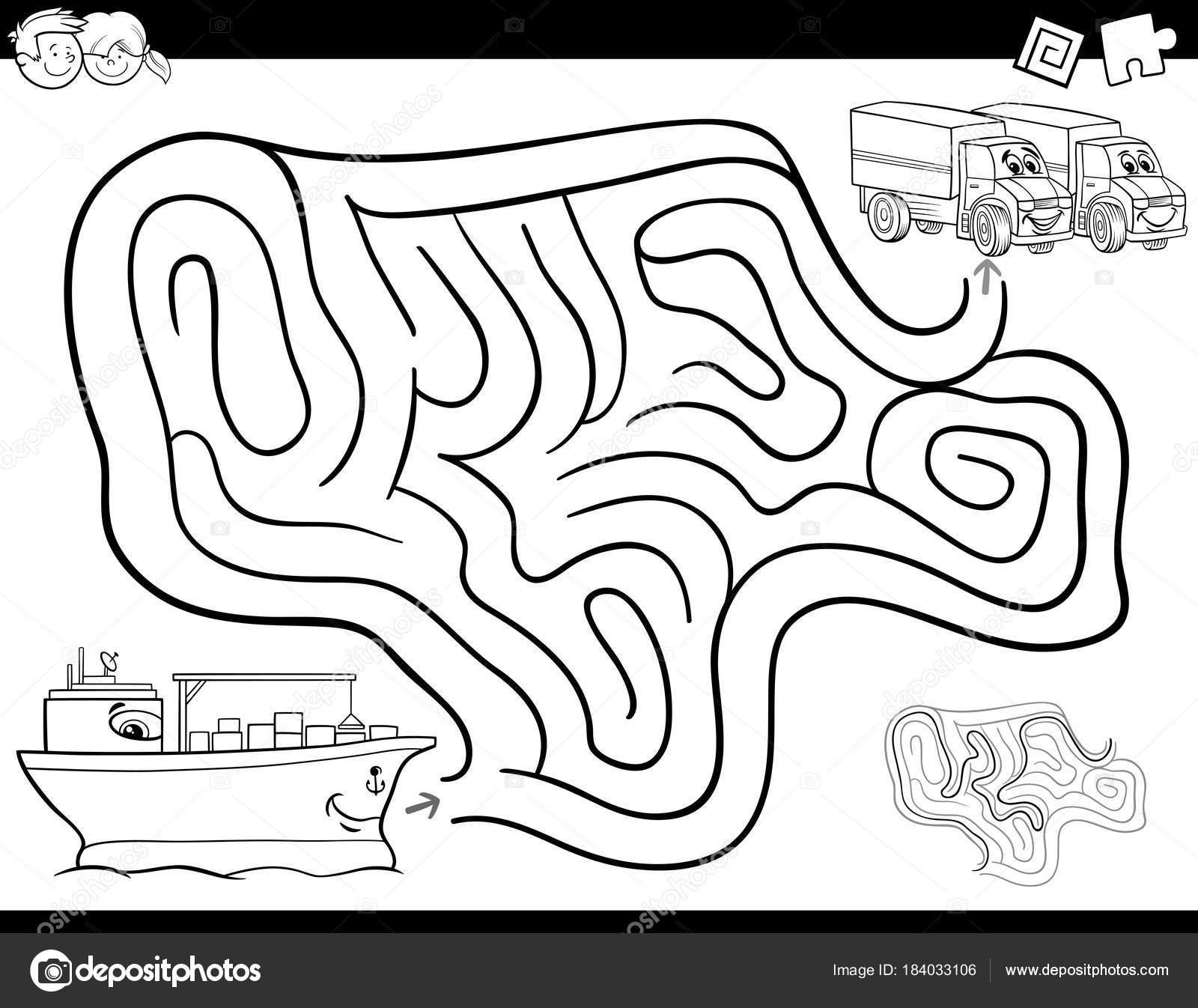 libro de colorear juego de laberinto con barco y camiones — Vector ...