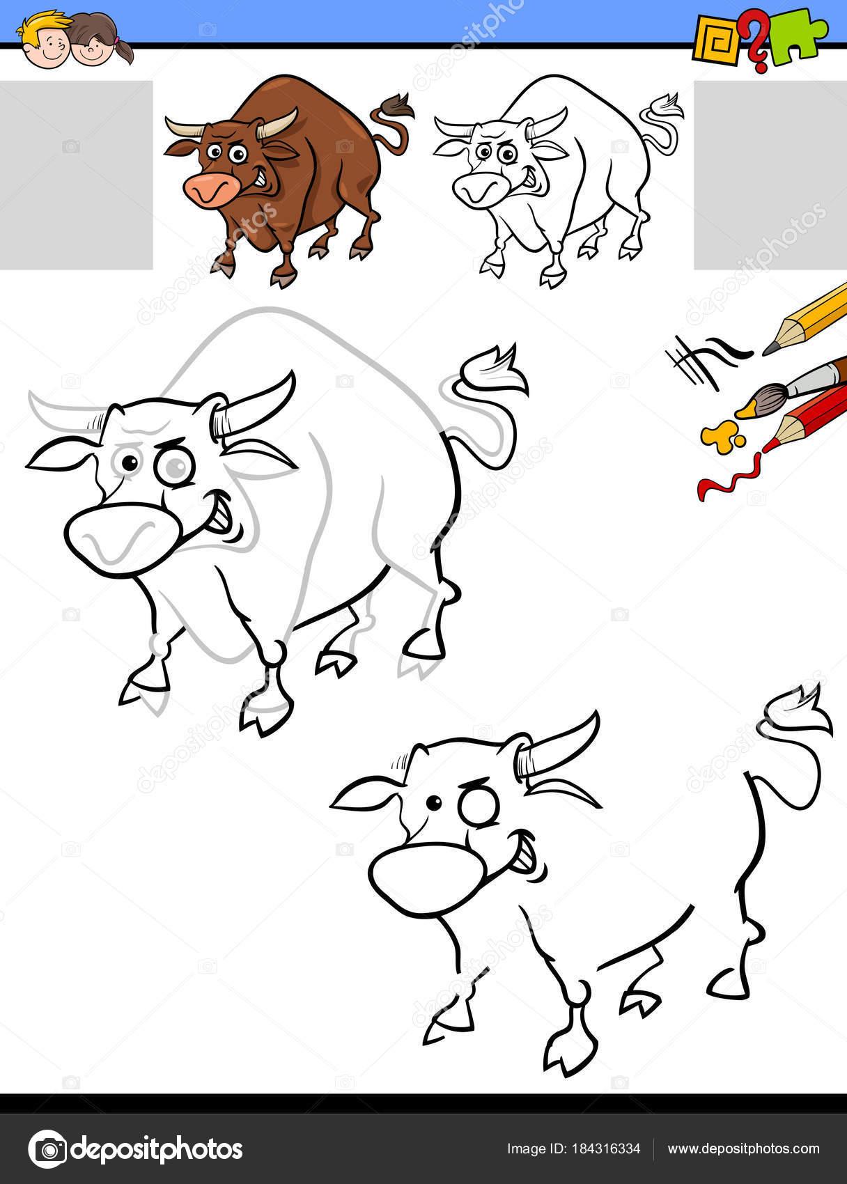 Zeichnung und Färbung Arbeitsblatt mit Stier — Stockvektor ...