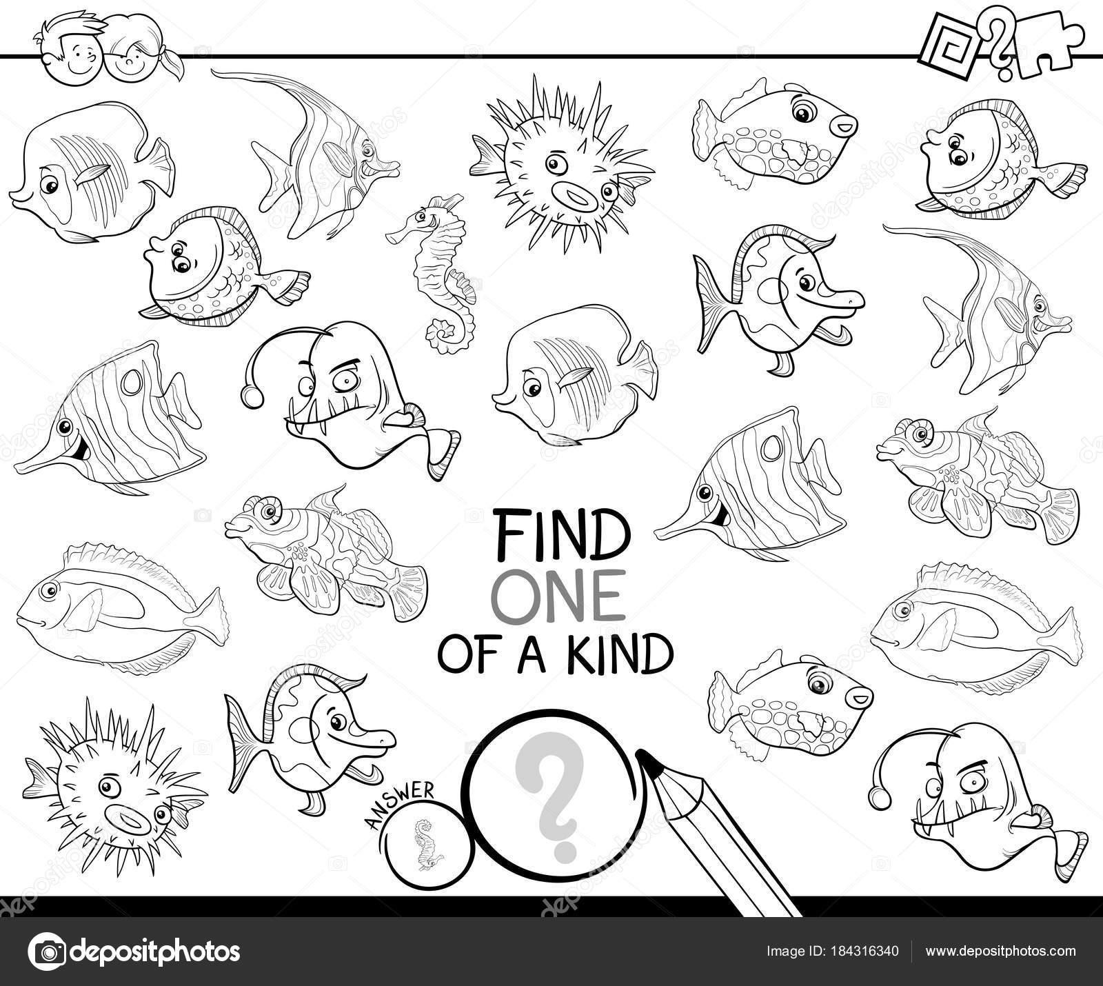 uno de un bueno juego con libro para colorear de peces — Archivo ...