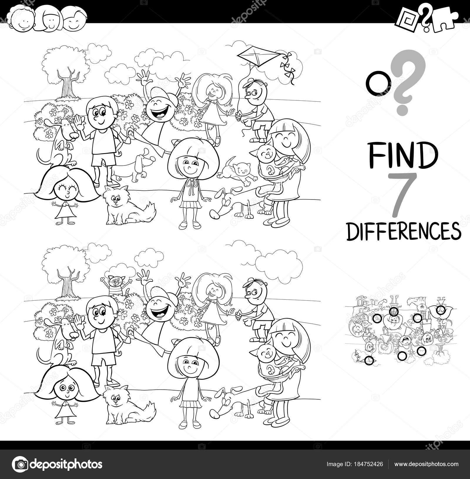 juego de las diferencias con los niños y animales domésticos para ...