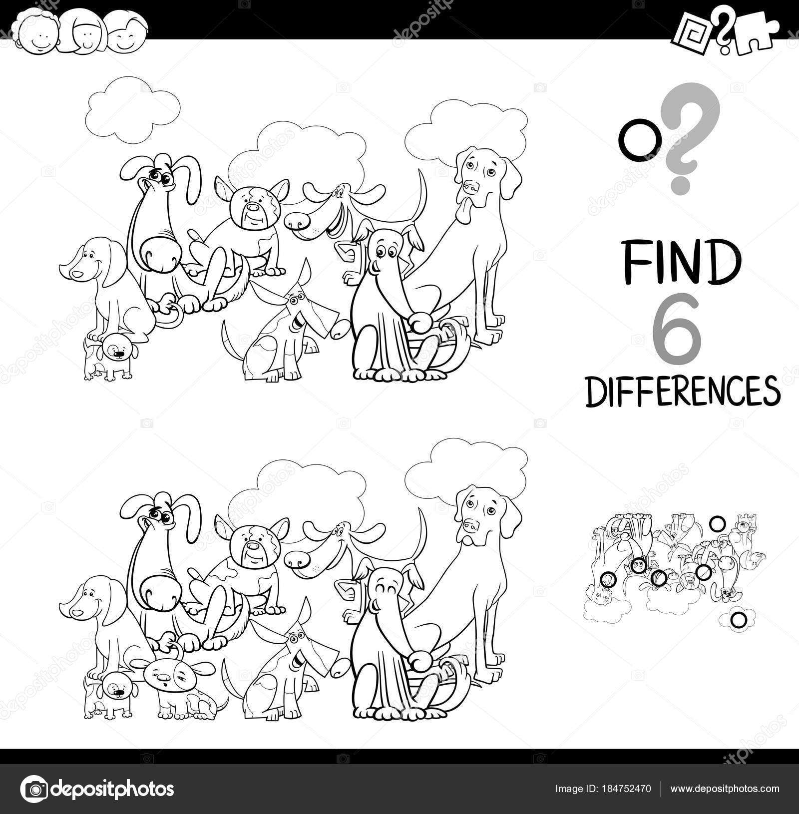 Dieren Kleurplaten Zoeken.Differences Spel Met Honden Dieren Kleurplaten Boek Stockvector