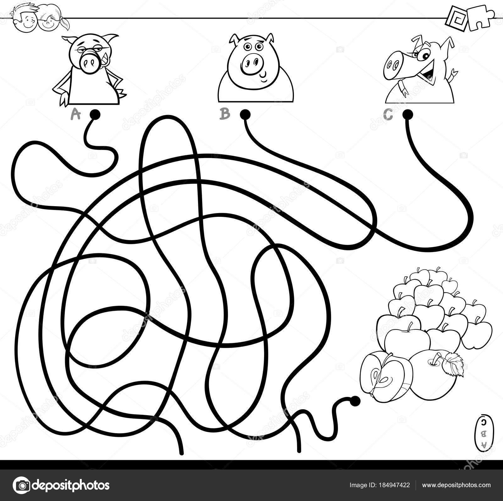 Pfad-Labyrinth mit Schweinen und Äpfel Farbbuch — Stockvektor ...