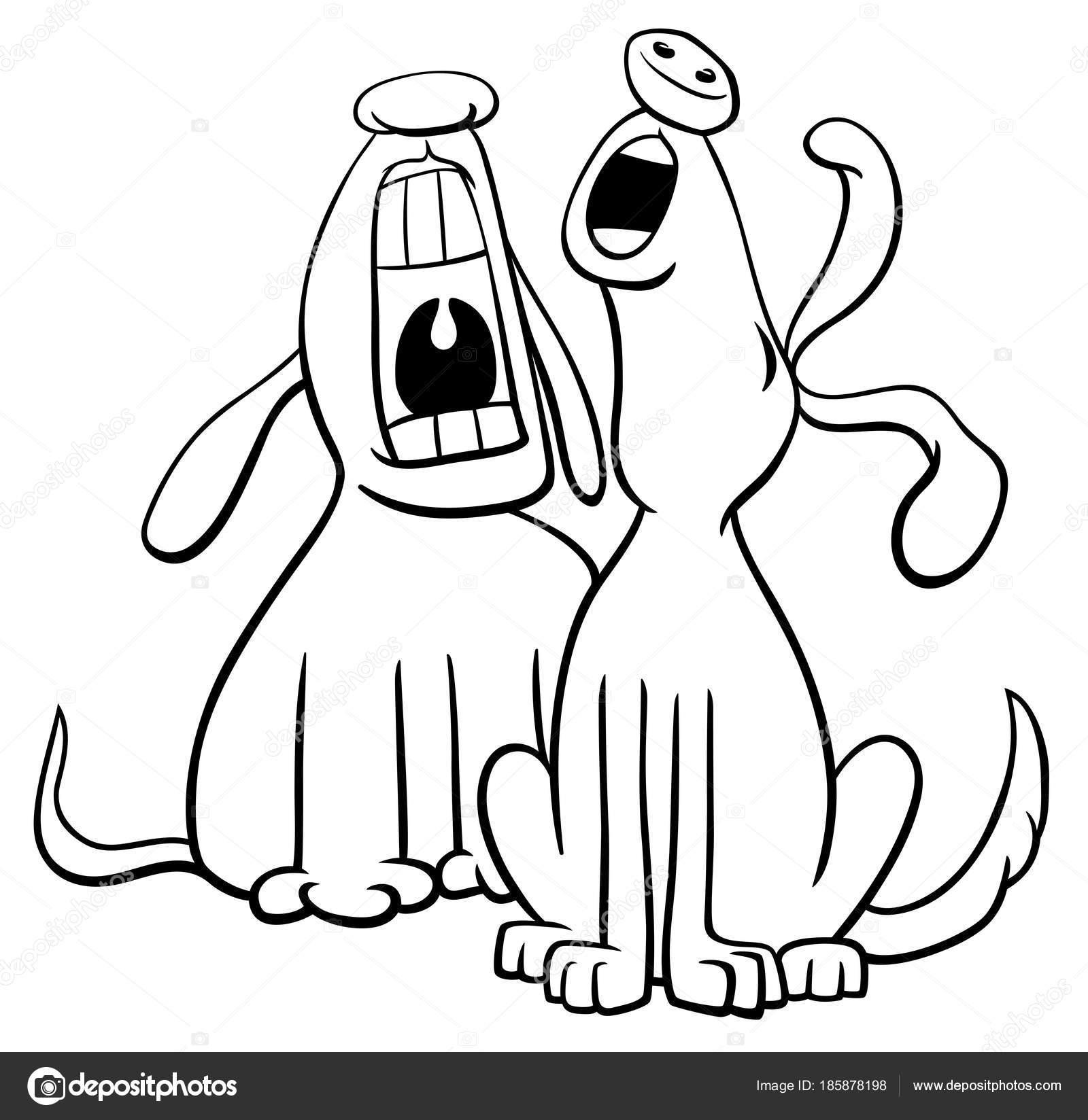 лай или воют собаки мультфильм раскраски книга векторное