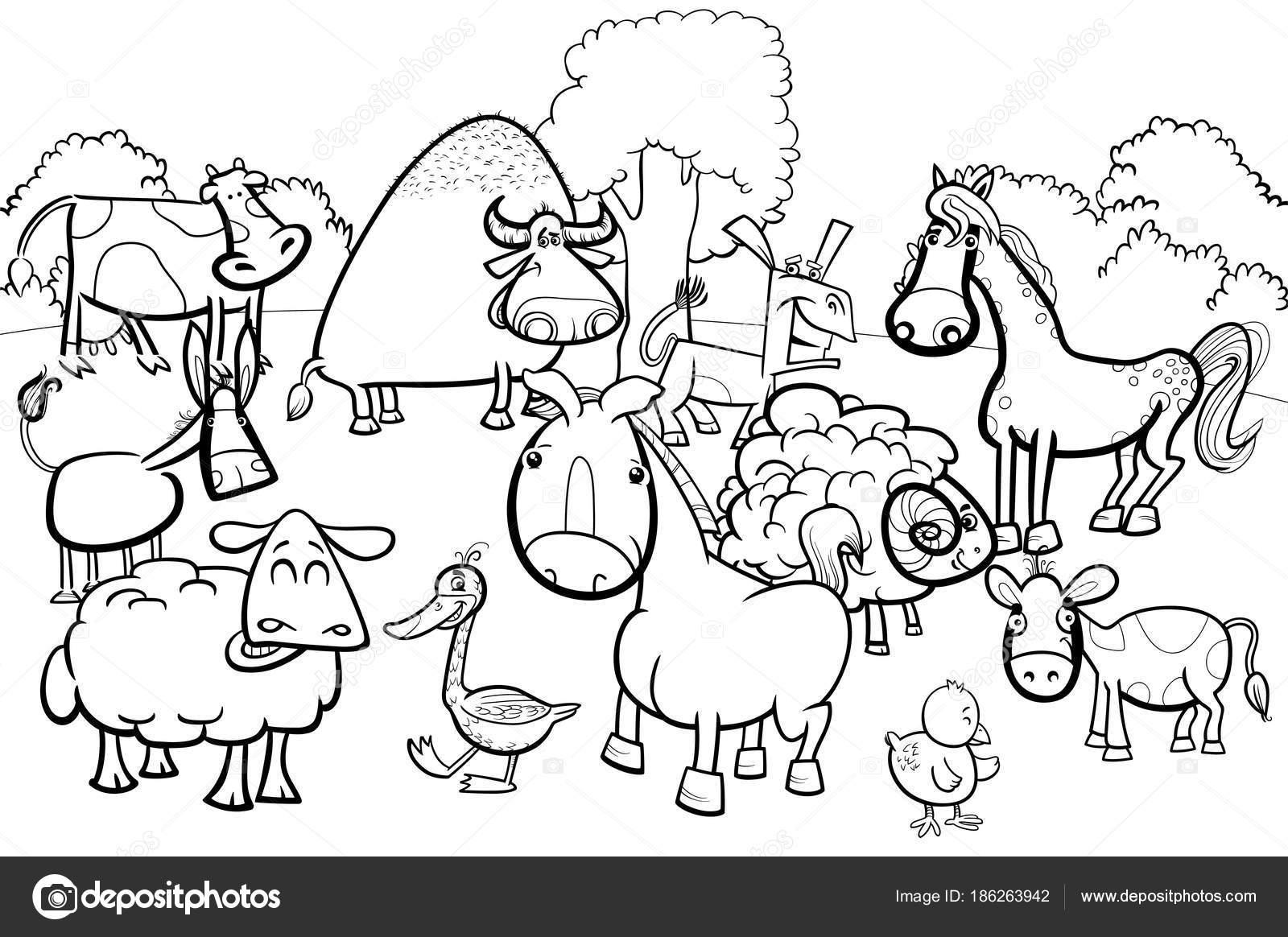 çizgi çiftlik Hayvan Kahramanlar Boyama Kitabı Stok Vektör