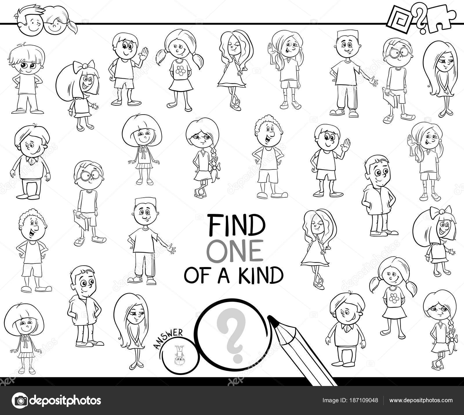 One Of A Kind Game With Children Coloring Page Stock Vector