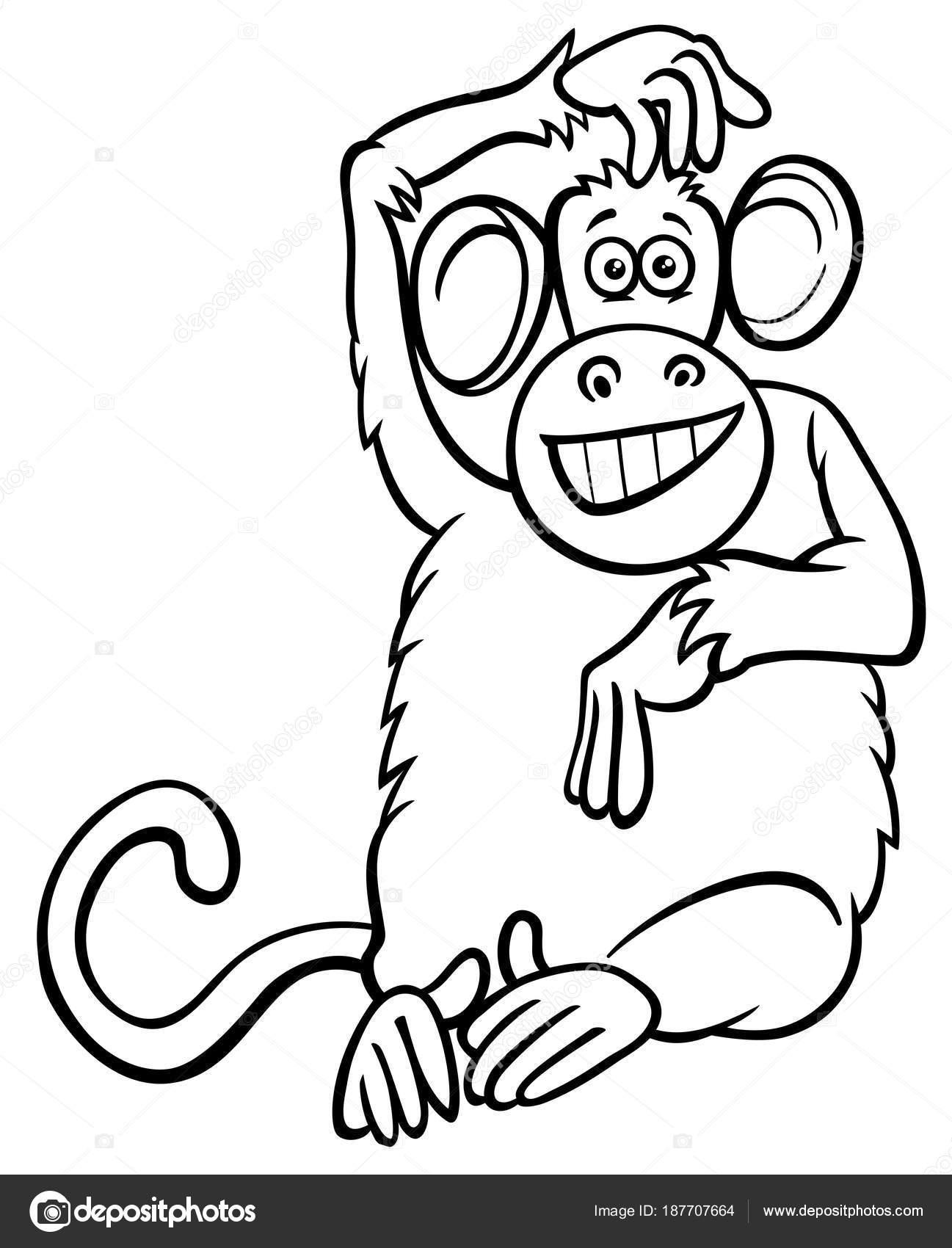 dibujos animados de carácter mono divertido libro para colorear ...