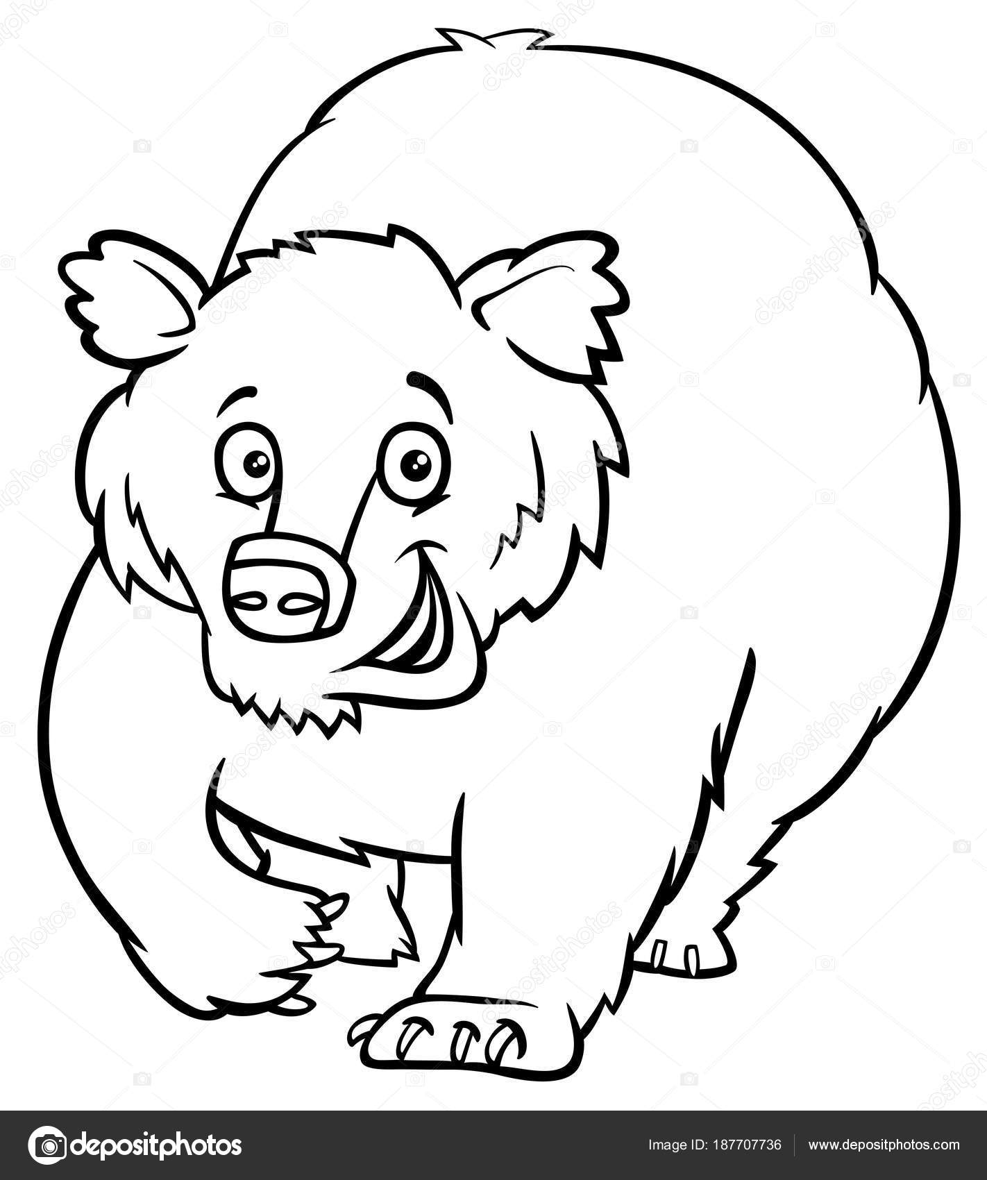 personaje animal de dibujos animados oso libro de colorear — Vector ...