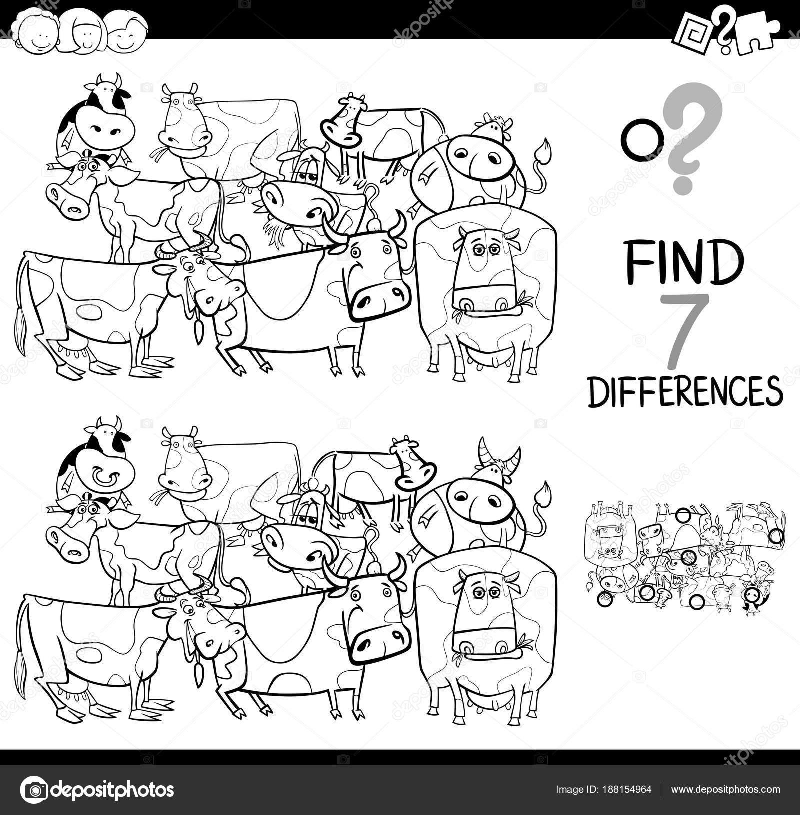çiftlik Inekleri Boyama Kitabı Ile Farklılıklar Oyunu Stok Vektör