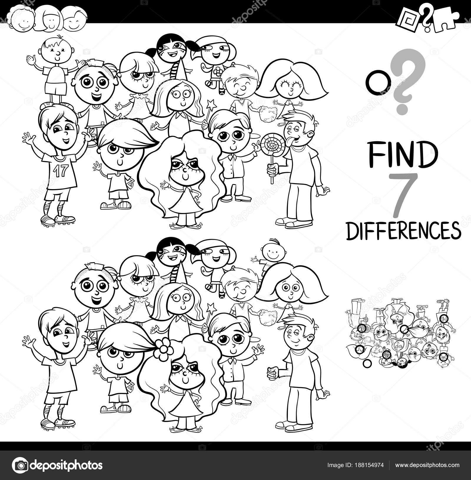 juego de las diferencias con los niños, libro para colorear — Vector ...