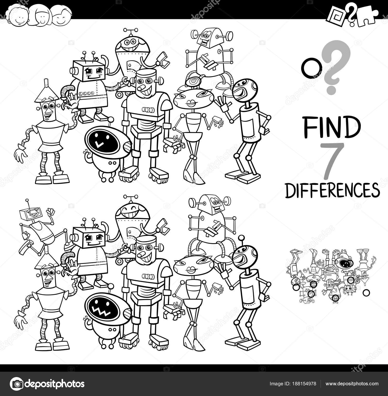 differences game with robot coloring book — Stock Vector © izakowski ...