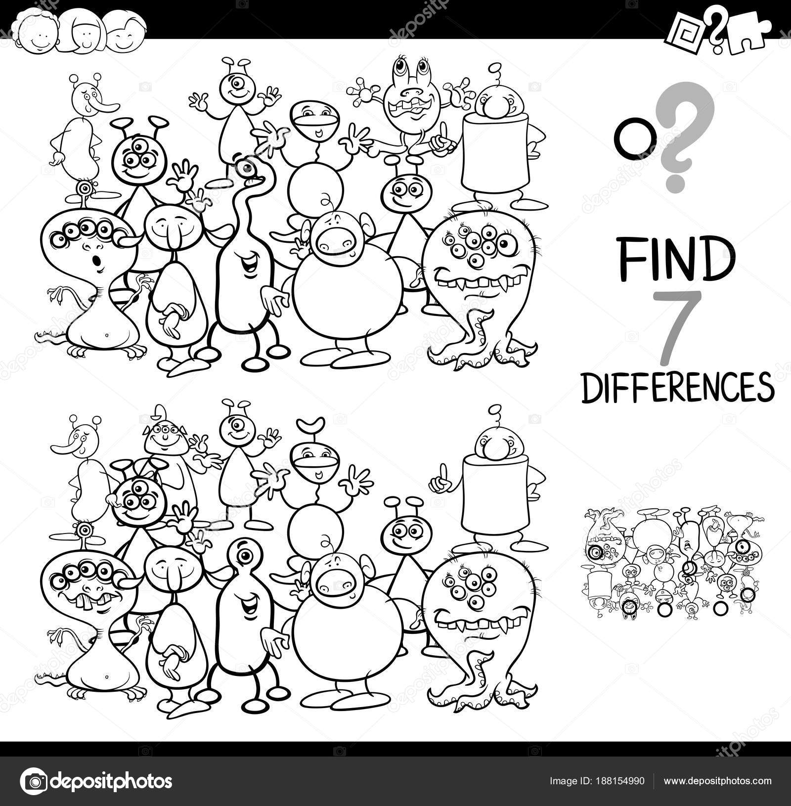 Differences Game With Aliens Coloring Book Stock Vector