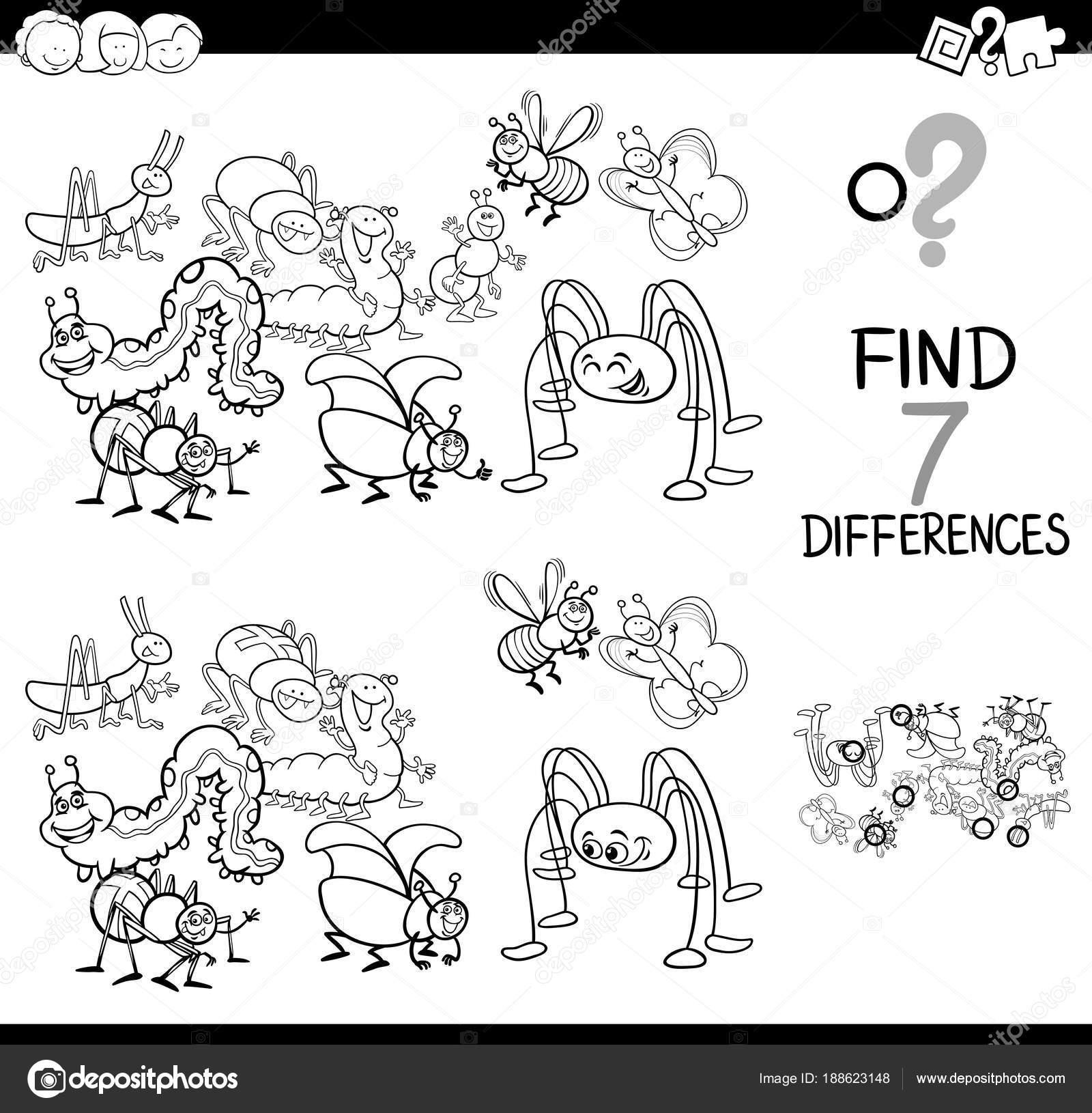 Böcek Grup Boyama Kitabı Ile Farklılıklar Oyunu Stok Vektör