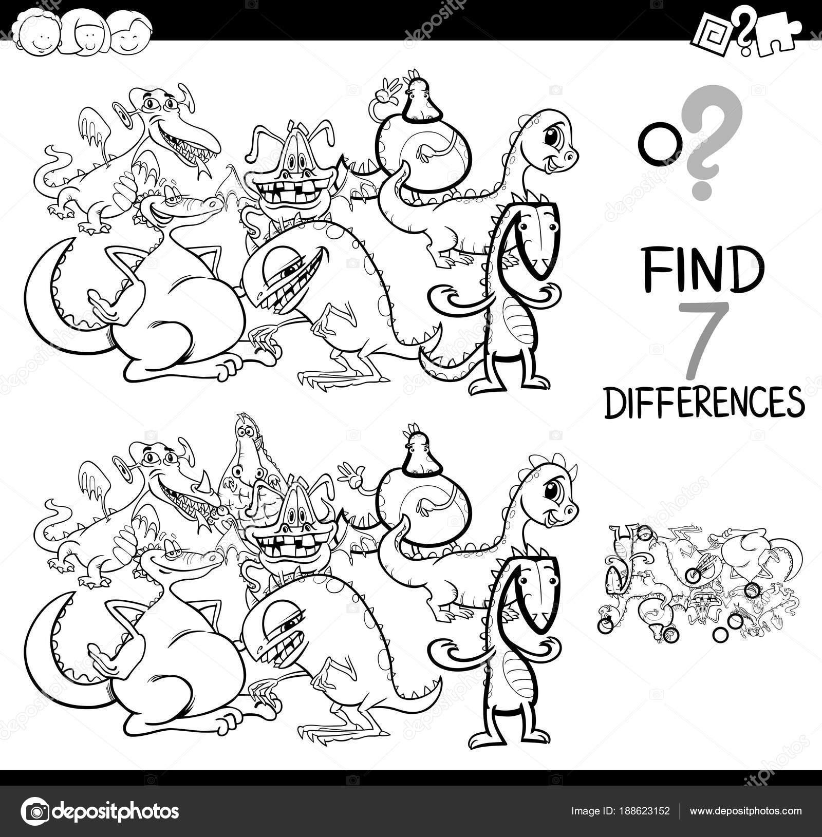 juego de las diferencias con los dragones de fantasía para colorear ...