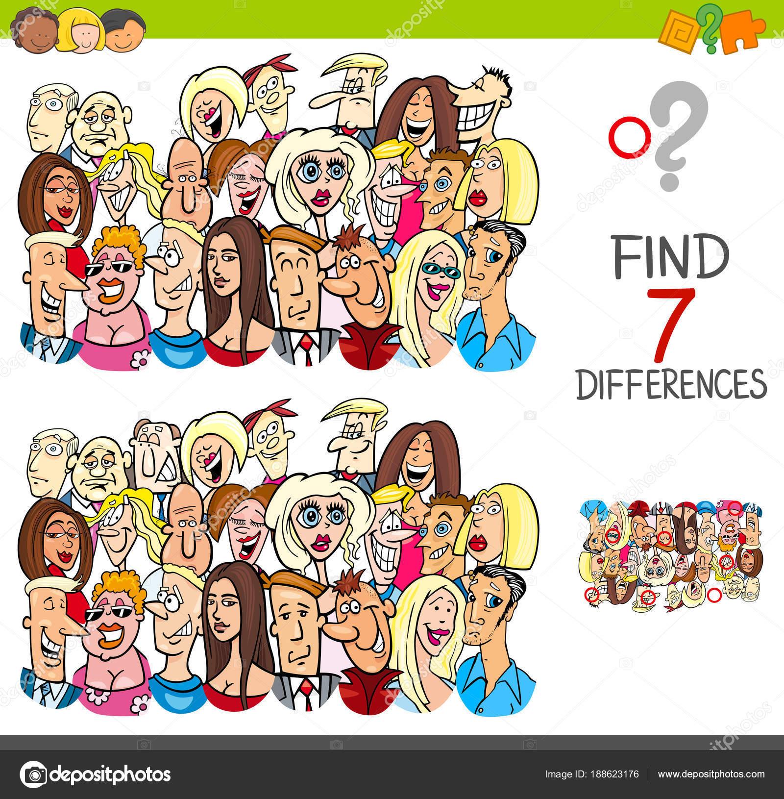 finden Sie Unterschiede Spiel mit Menschen Zeichen — Stockvektor ...