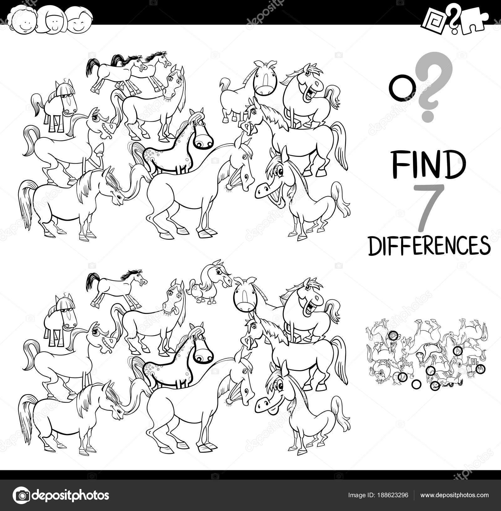 differences game with farm horses coloring book — Stock Vector ...