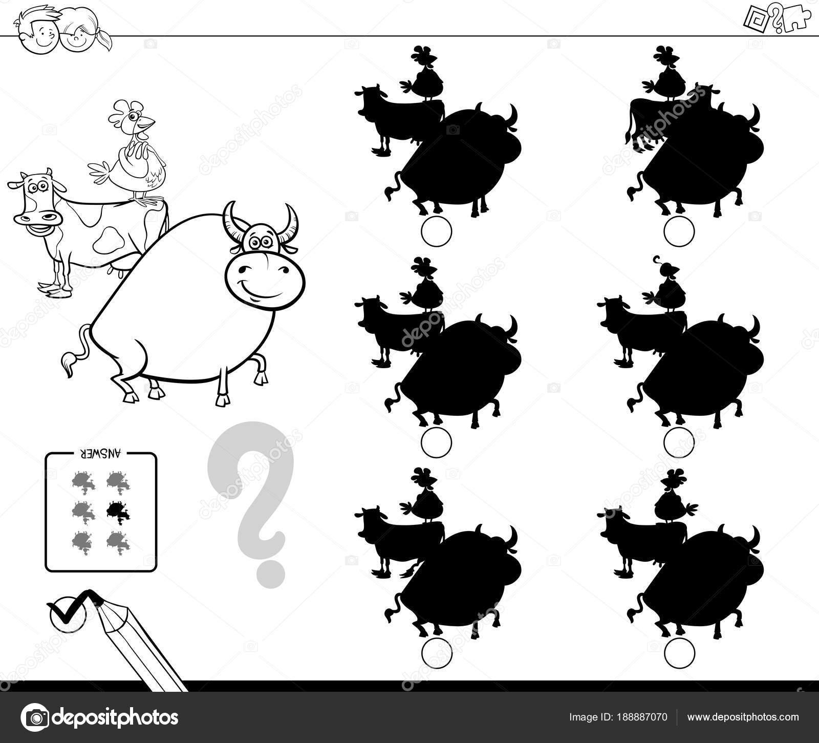 farm animals shadows game coloring book — Stock Vector © izakowski ...
