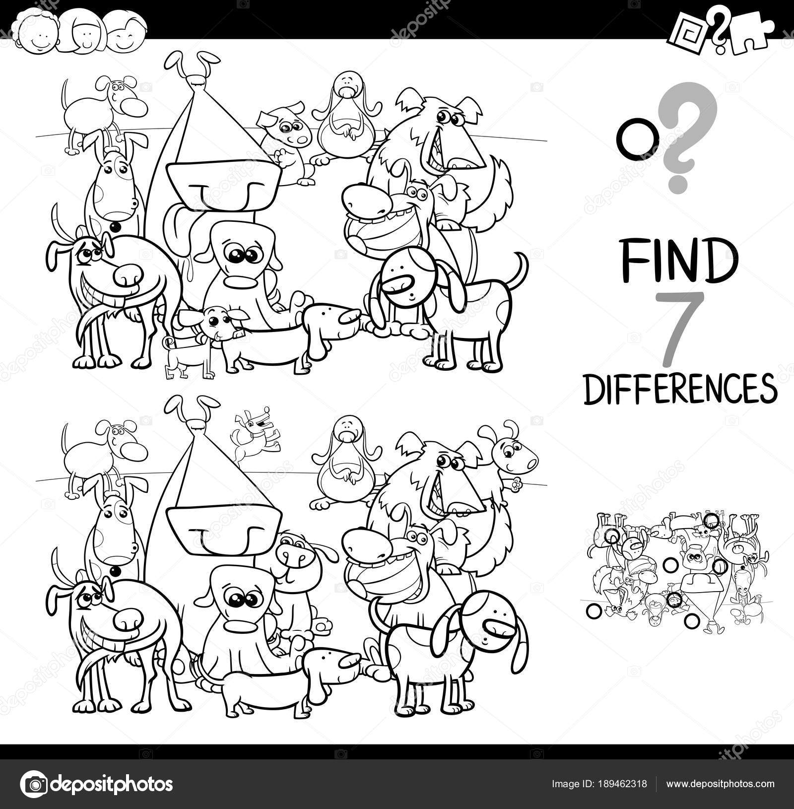 differences game with dogs coloring book — Stock Vector © izakowski ...