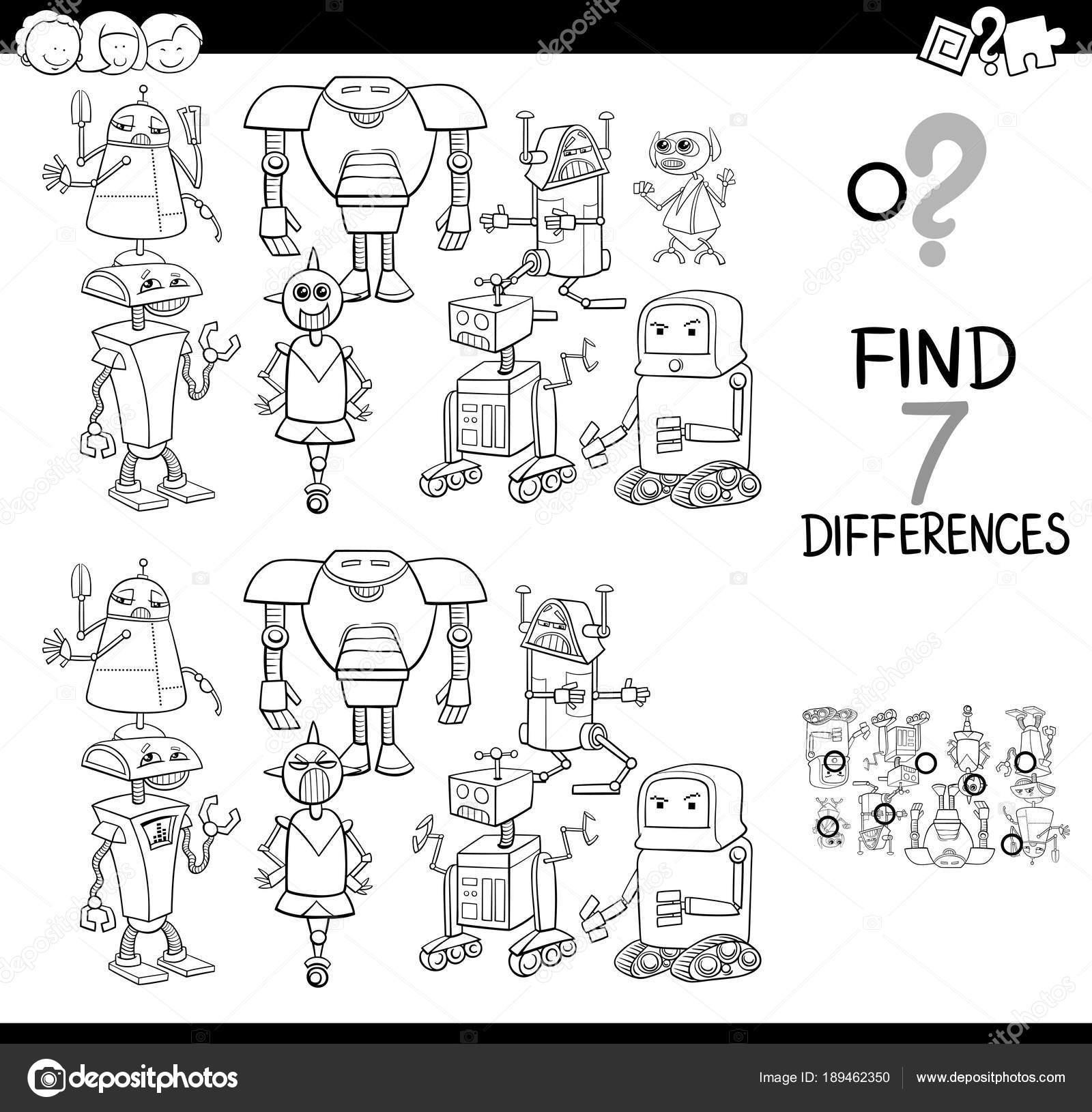 Boyama Kitabı Robotlar Ile Farklılıklar Oyunu Stok Vektör