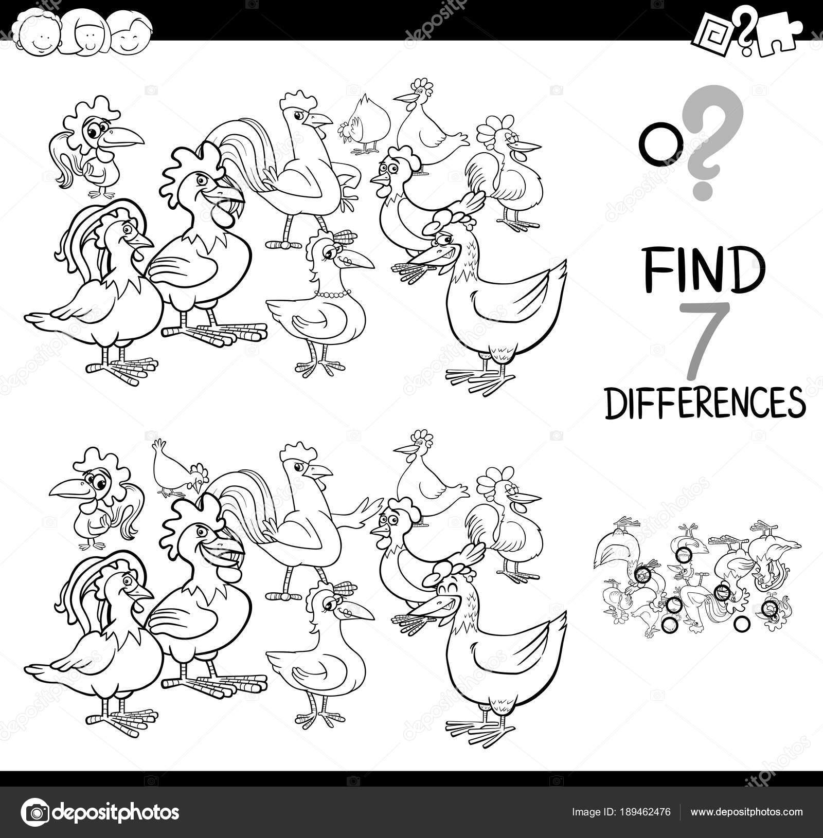 juego de las diferencias con los pollos de granja para colorear ...