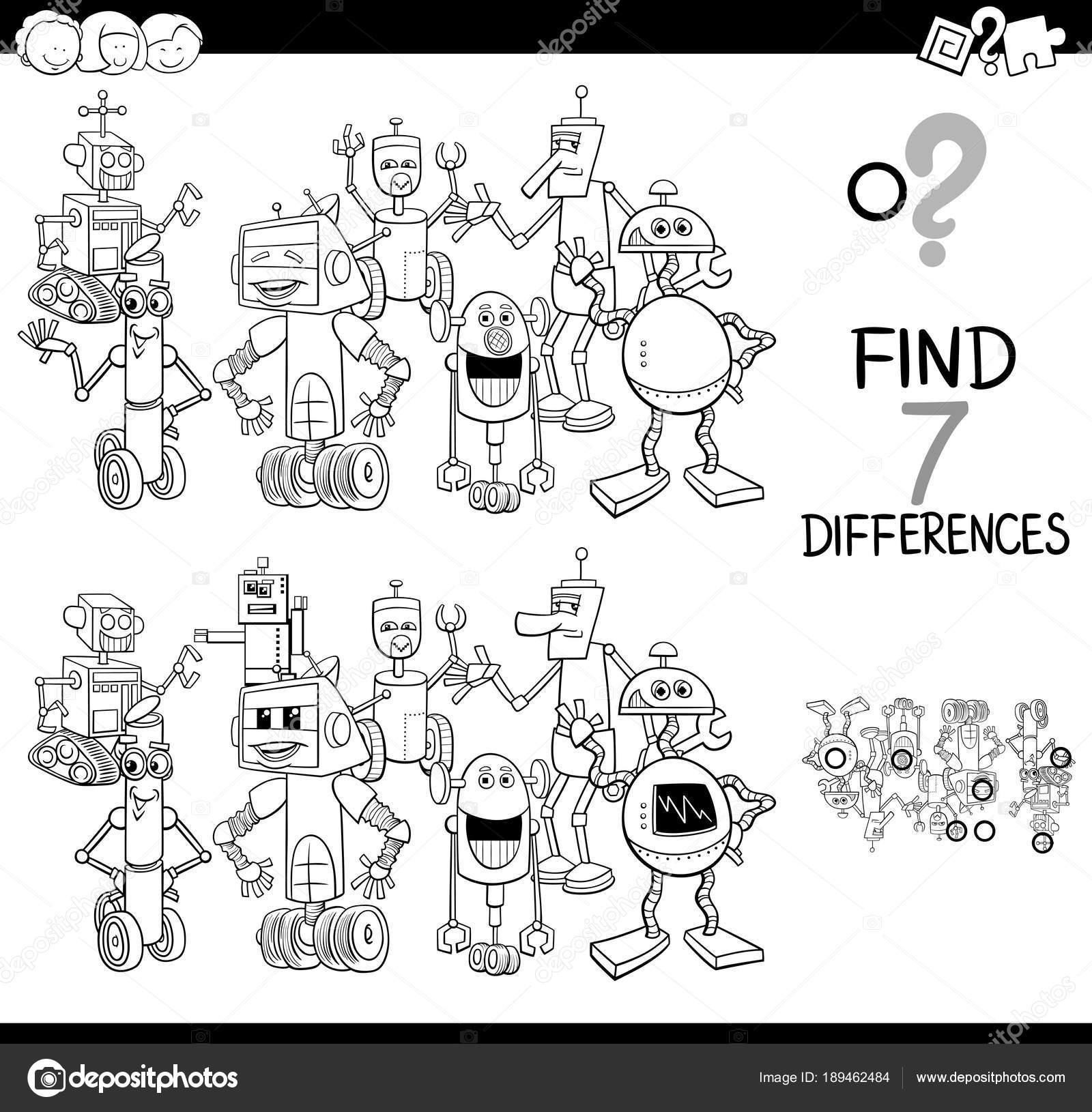 Robot Karakter Renkli Kitap Ile Farklılıklar Oyunu Stok Vektör
