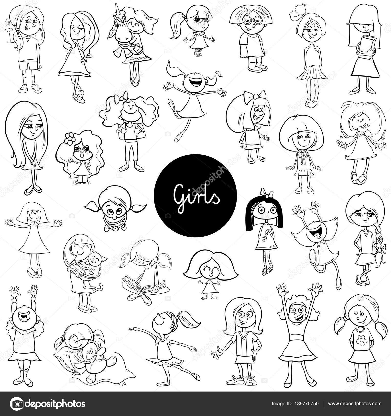 Cartoon Kid Mädchen Zeichen festlegen der Farbe Buch — Stockvektor ...