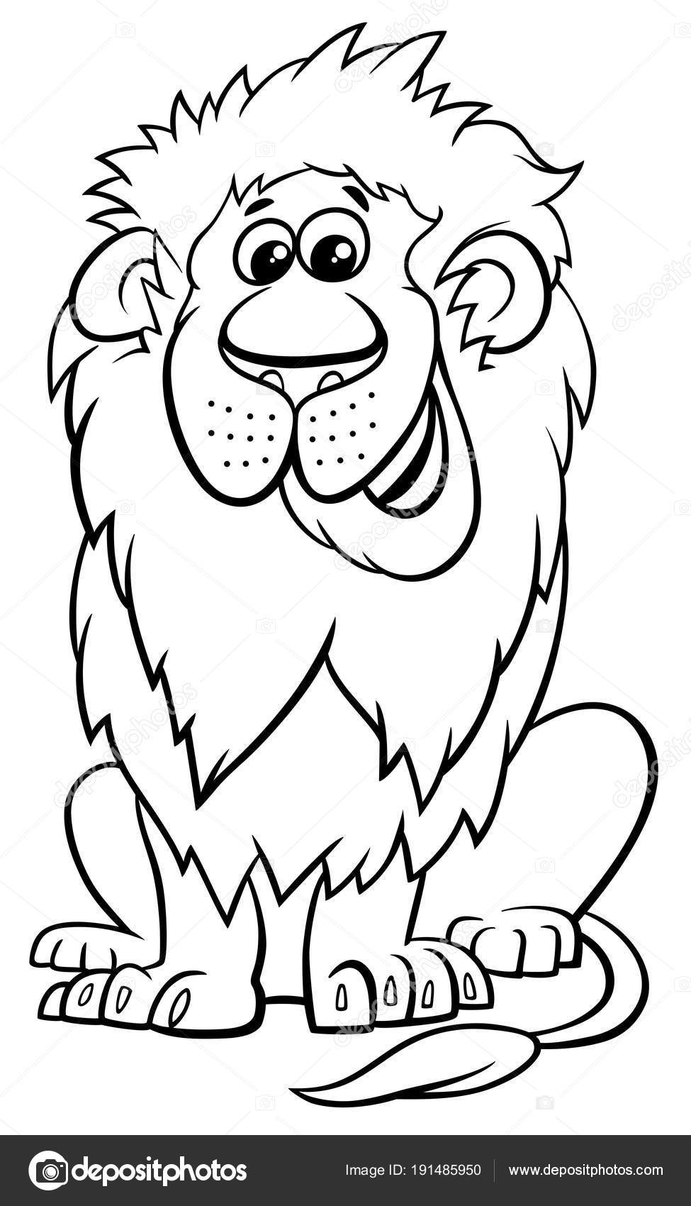 lion animal character cartoon coloring book — Stock Vector ...