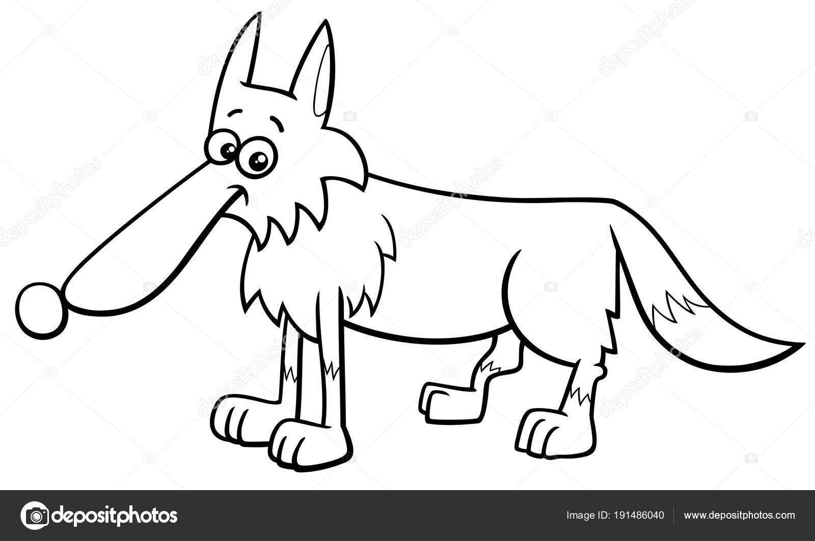 dibujos animados de carácter animal de lobo para colorear libro ...