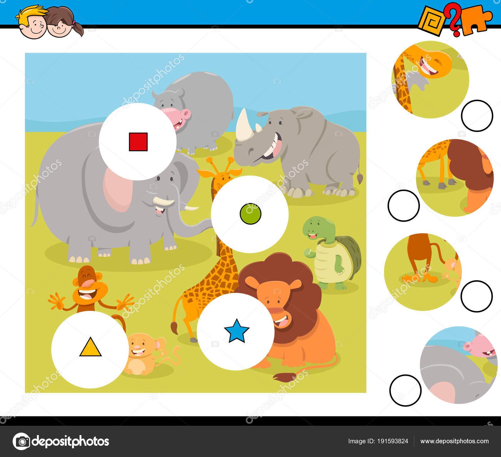 entsprechen Sie Teile Puzzle mit Safaritiere — Stockvektor ...