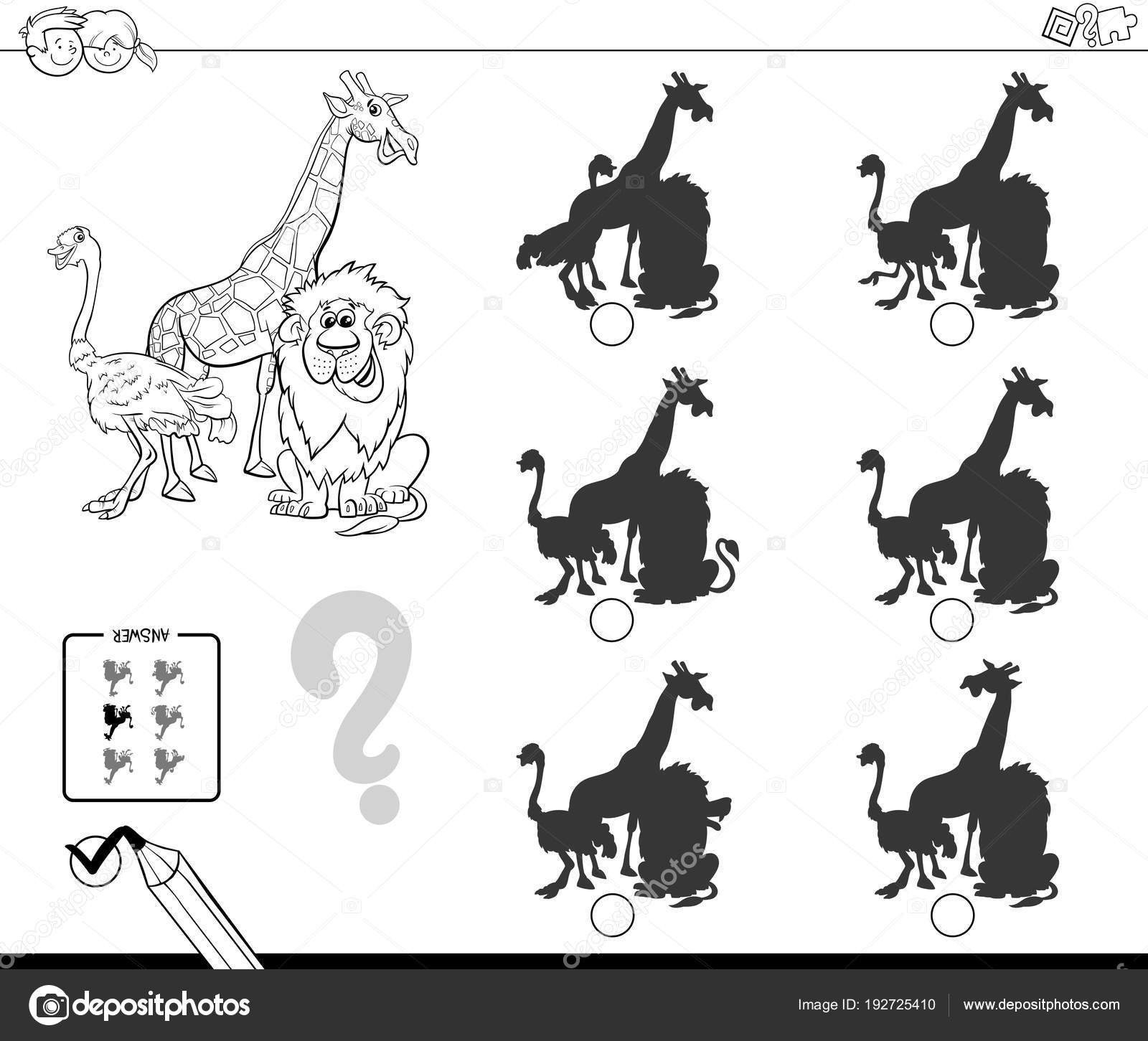 Safari animals shadow game coloring book — Stock Vector © izakowski ...