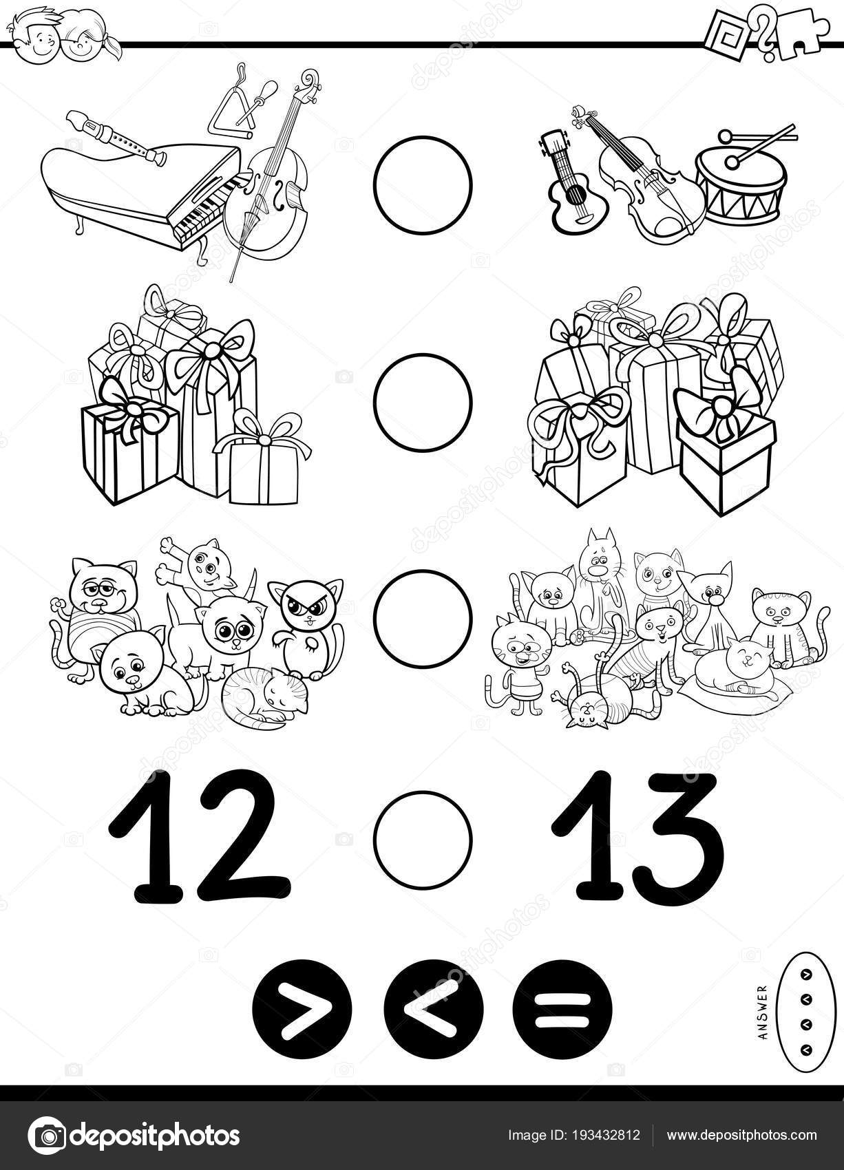 größer kleiner oder gleich Spiel farbbuch — Stockvektor © izakowski ...