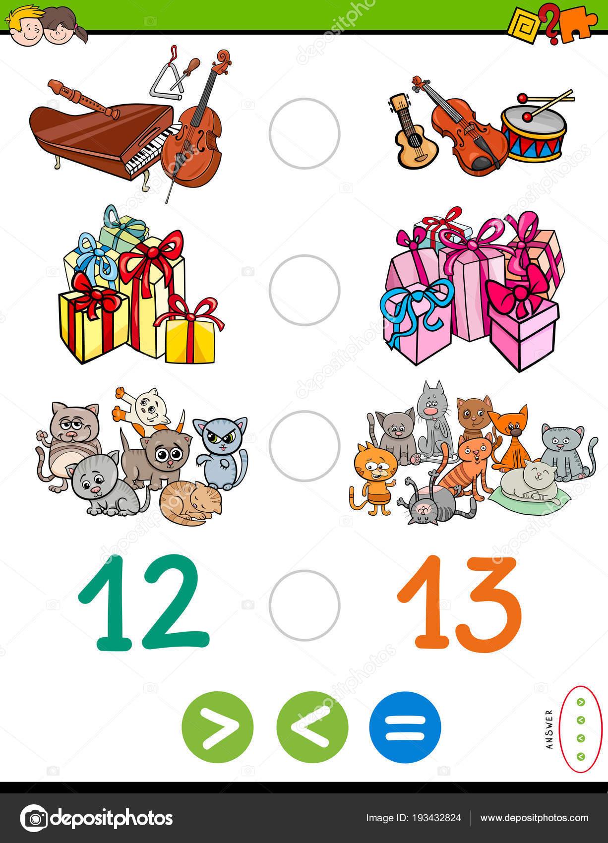 größer kleiner oder gleich Puzzle-Spiel für Kinder — Stockvektor ...