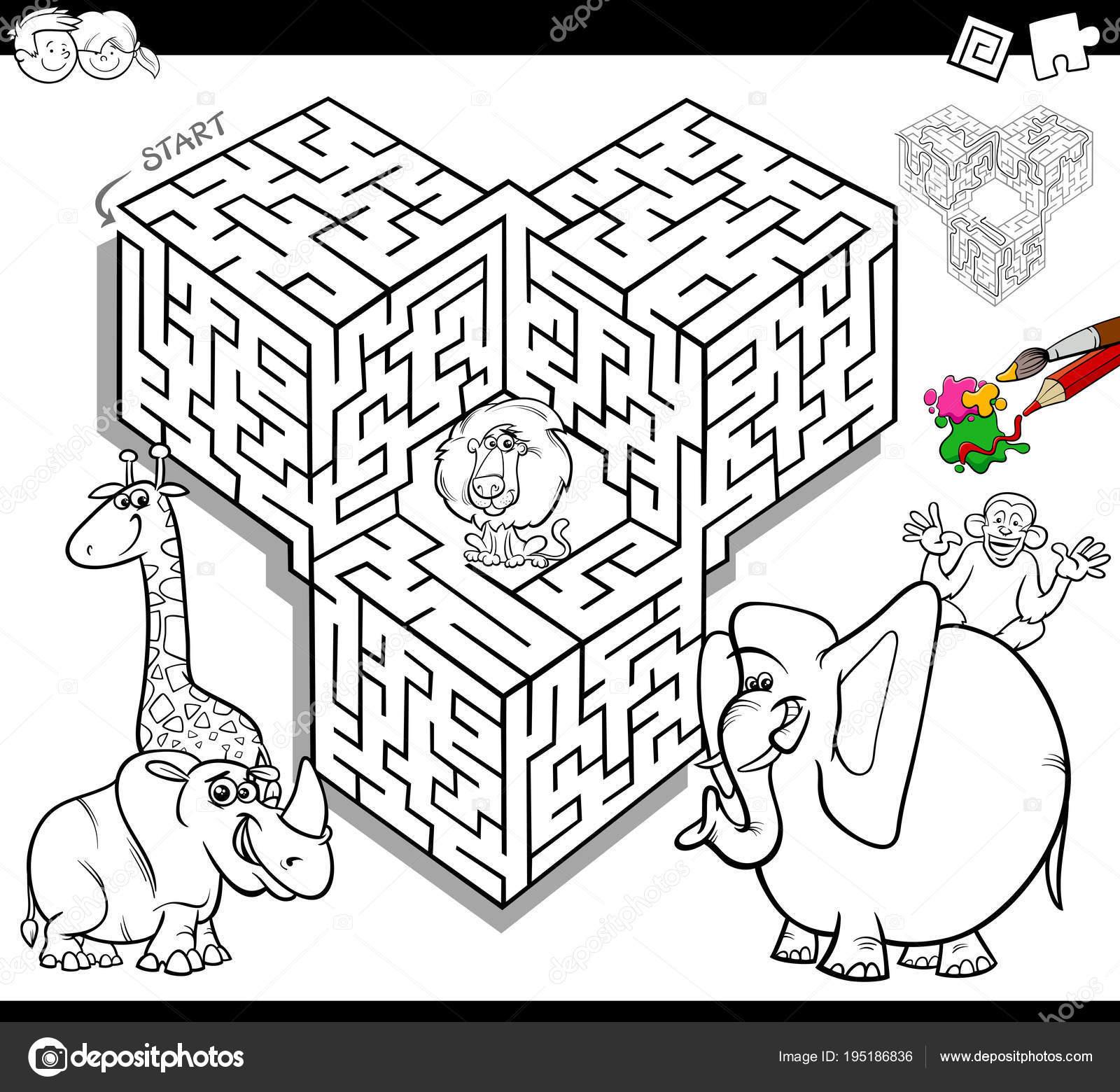maze coloring book with safari animals — Stock Vector © izakowski ...