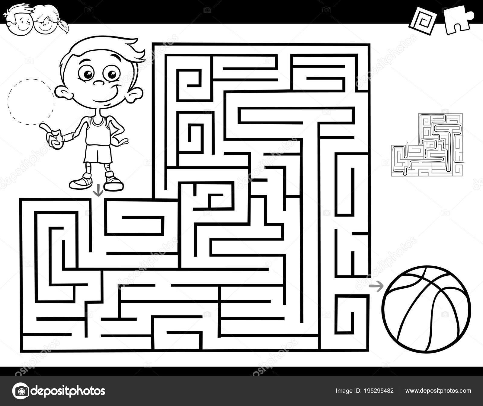 libro laberinto con niño y baloncesto — Vector de stock © izakowski ...