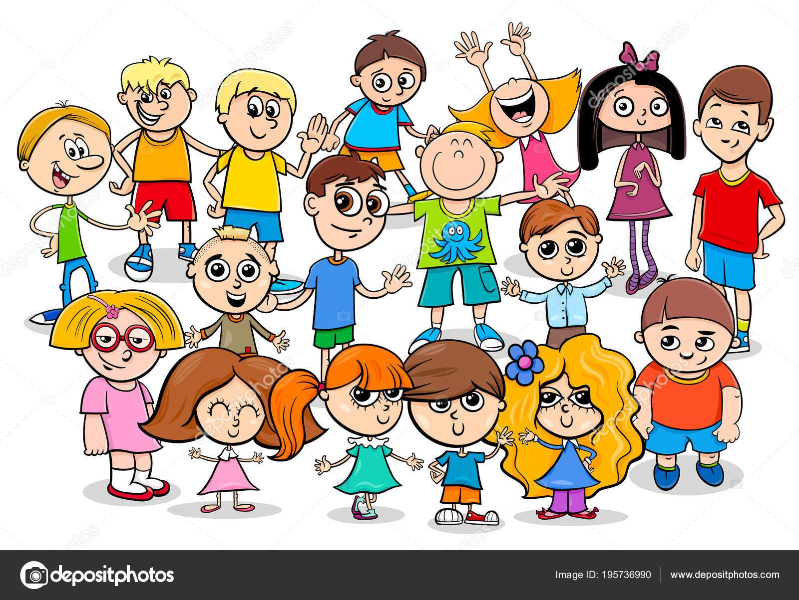 Stastne Deti Kreslene Postavy Skupiny Stock Vektor C Izakowski