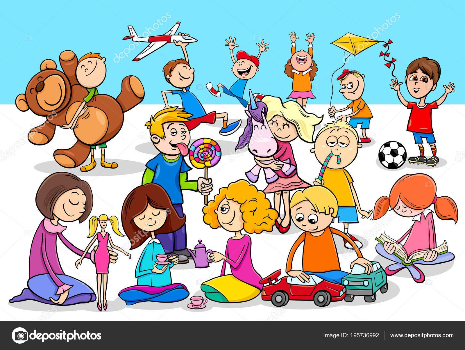 Grupo De Personajes De Dibujos Animados Los Niños Juguetones