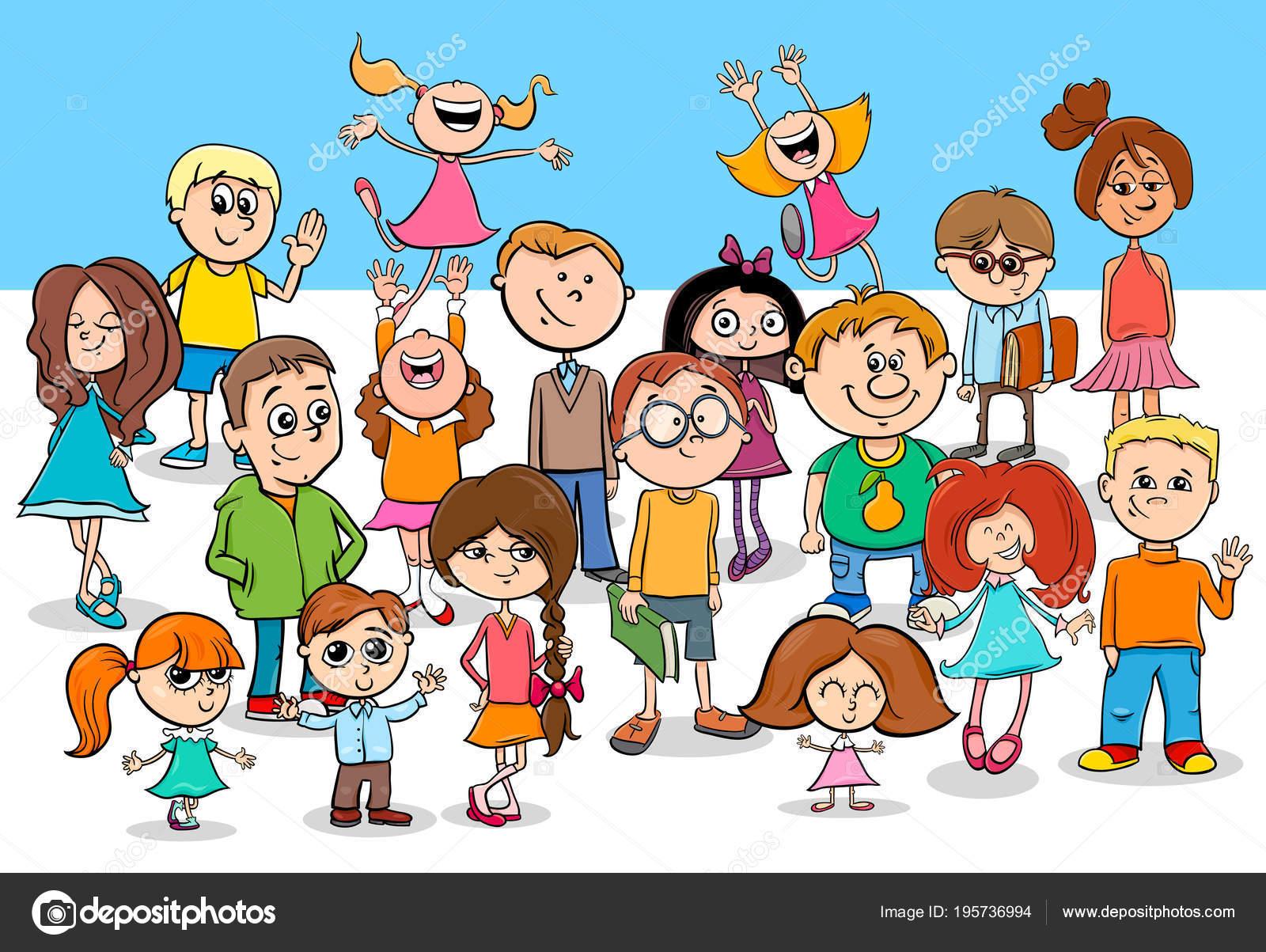 Grupo De Personajes De Dibujos Animados Niños Y Niñas