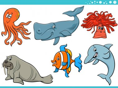 sea life cartoon animal species characters set