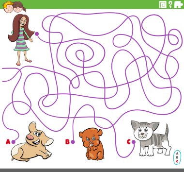 Cartoon Illustration of Lines Maze Puzzle Game with Girl and Cute Pets Characters