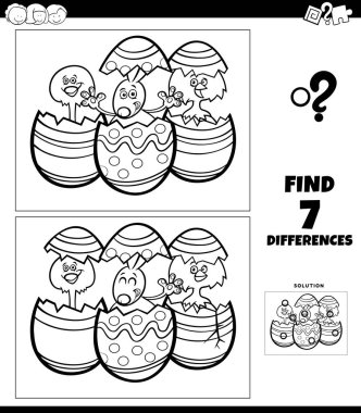 Black and White Cartoon Illustration of Finding Differences Between Pictures Educational Game for Children with Easter Bunny and Chick Characters Coloring Book Page