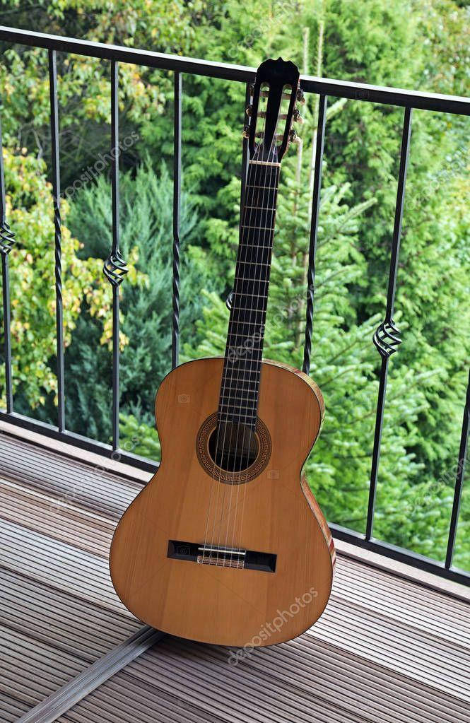 Guitar on a balcony