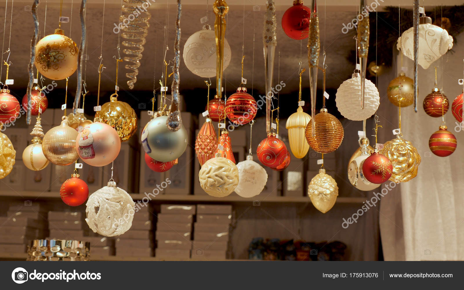 Front View Christmas Decorations at German Market — Stock Photo
