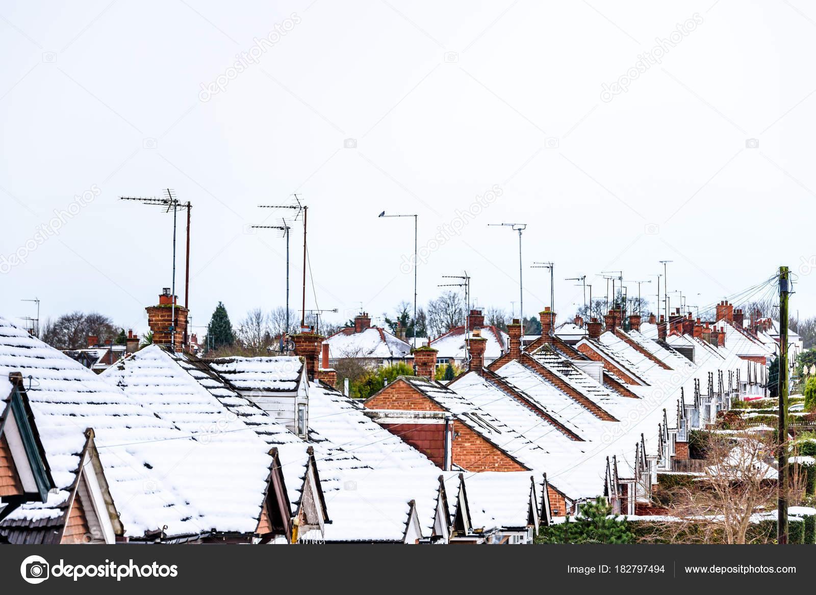 Casa De Invierno En Ingles Nublado Día Invierno Vista De