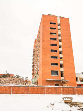 Visaginas, Lithuania - 12 February 2018: Day winter view shot of demolition of Aukstaitija Hotel
