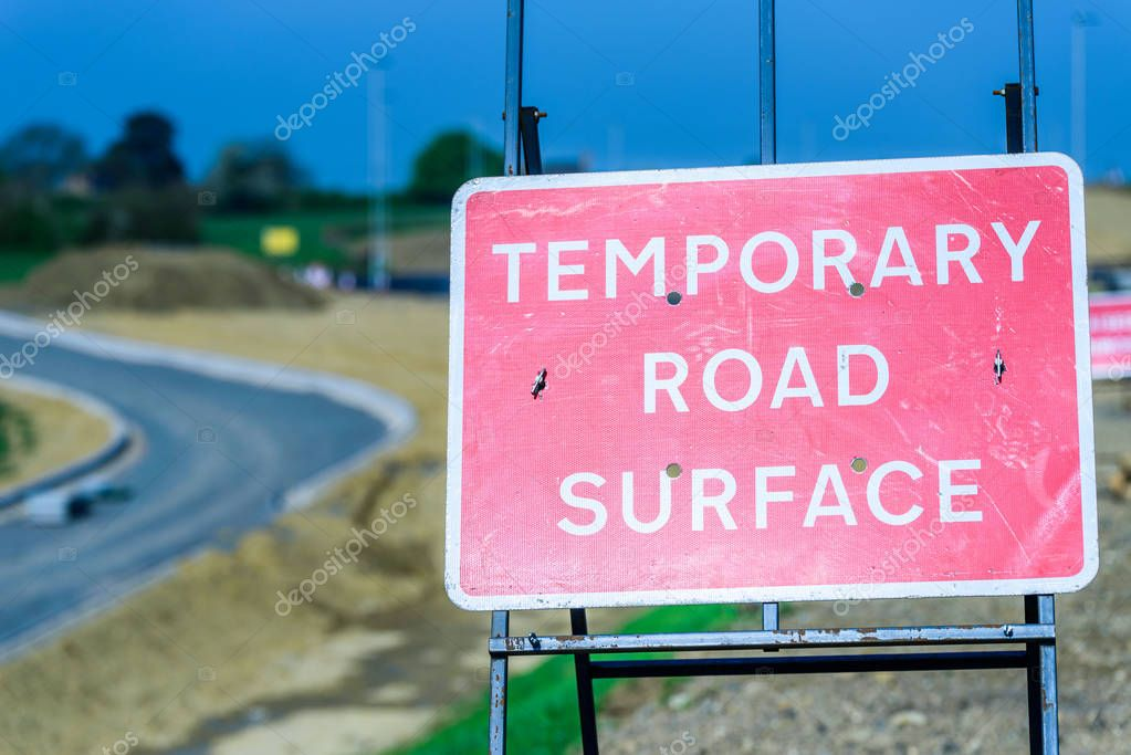 Temporary Road Surface Roadworks sign on UK motorway