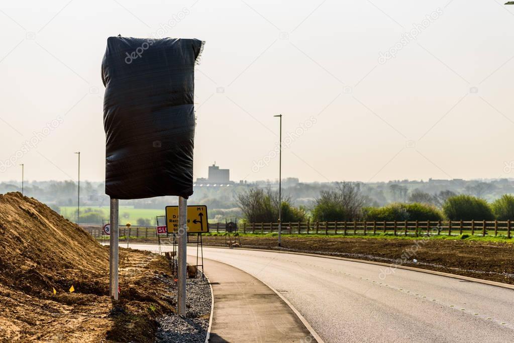 Hidden Road sign on Roadworks on UK motorway