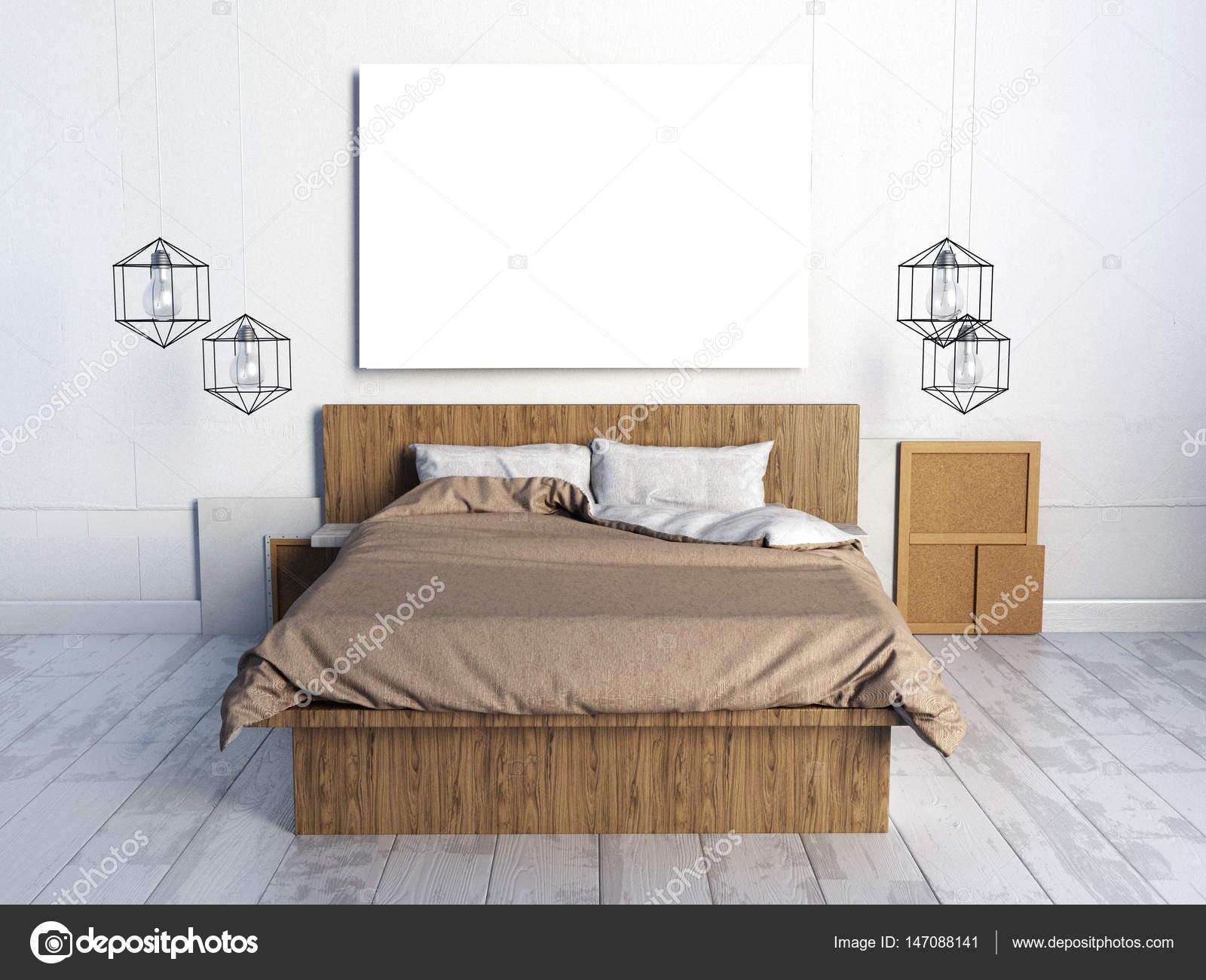 Mock-up Poster im Schlafzimmer Inneren. Schlafzimmer-Hipster-Stil ...