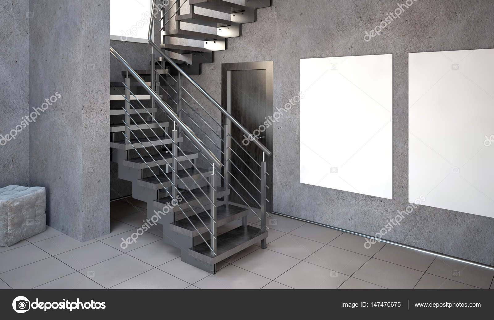 Woonkamer Interieur Stijlen : Mock up poster in interieur met trappen woonkamer hipster stijl
