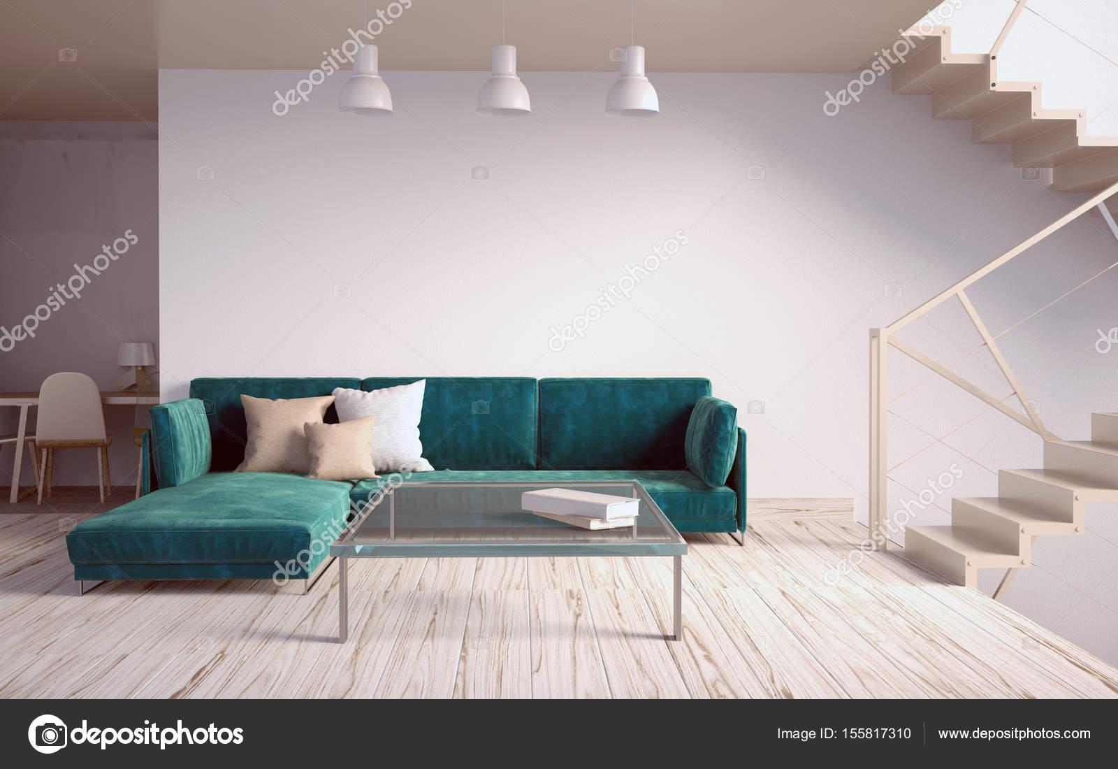 Deridere sul muro interno con scale e divano. soggiorno hipst — Foto ...